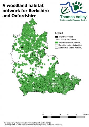TVERC Woodland Habitat network map for Berkshire and Oxfordshire